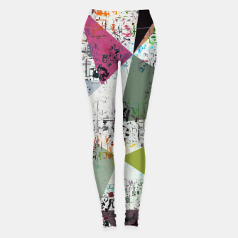 Miniaturka psychedelic geometric triangle pattern abstract with painting abstract background Leggings, Live Heroes