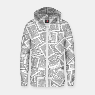 Thumbnail image of Literary Overload Cotton zip up hoodie, Live Heroes