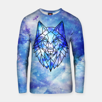 Miniature de image de Geometric galaxy wolf Cotton sweater, Live Heroes