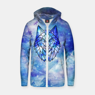 Thumbnail image of Geometric galaxy wolf Cotton zip up hoodie, Live Heroes
