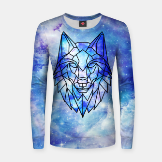 Thumbnail image of Geometric galaxy wolf Woman cotton sweater, Live Heroes