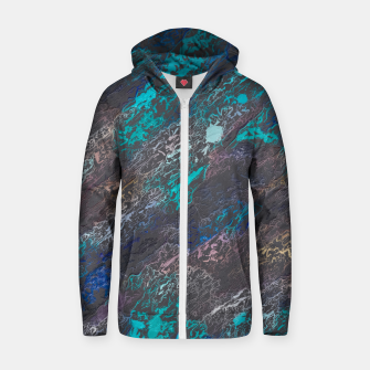 Miniaturka psychedelic splash painting texture abstract background in blue and black Cotton zip up hoodie, Live Heroes