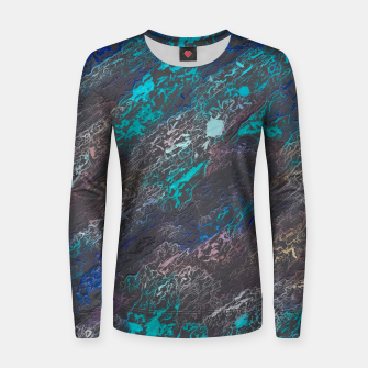 Miniaturka psychedelic splash painting texture abstract background in blue and black Woman cotton sweater, Live Heroes