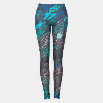 Miniaturka psychedelic splash painting texture abstract background in blue and black Leggings, Live Heroes