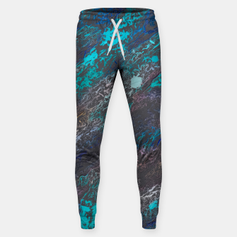 Miniaturka psychedelic splash painting texture abstract background in blue and black Cotton sweatpants, Live Heroes