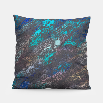 Miniaturka psychedelic splash painting texture abstract background in blue and black Pillow, Live Heroes
