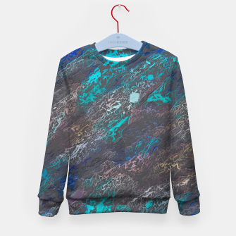 Miniaturka psychedelic splash painting texture abstract background in blue and black Kid's sweater, Live Heroes