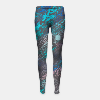 Miniaturka psychedelic splash painting texture abstract background in blue and black Girl's leggings, Live Heroes