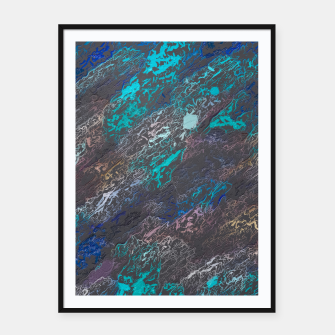 Miniaturka psychedelic splash painting texture abstract background in blue and black Framed poster, Live Heroes