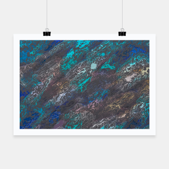 Miniaturka psychedelic splash painting texture abstract background in blue and black Poster, Live Heroes