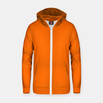 Blaze Orange Color Cotton zip up hoodie thumbnail image