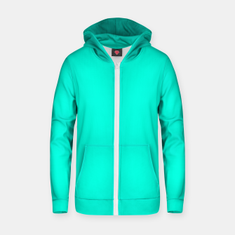 Thumbnail image of Bright Turquoise Color Cotton zip up hoodie, Live Heroes