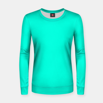 Thumbnail image of Bright Turquoise Color Woman cotton sweater, Live Heroes