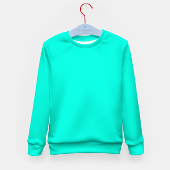 Thumbnail image of Bright Turquoise Color Kid's sweater, Live Heroes