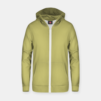 khaki color Cotton zip up hoodie thumbnail image