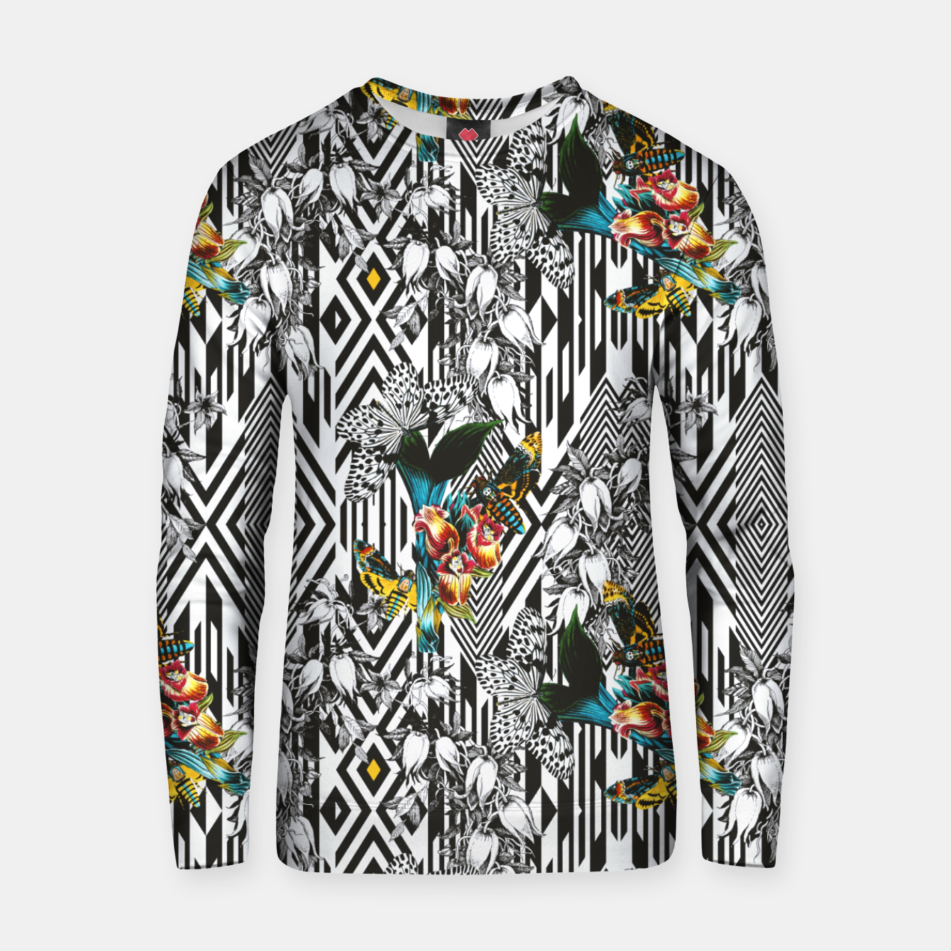 Image of Flowery Geometric Mosaic With Butterflies Sudadera de algodón - Live Heroes