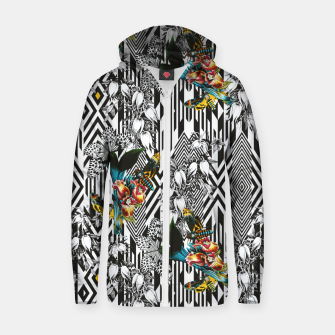 Thumbnail image of Flowery Geometric Mosaic With Butterflies Sudadera con capucha y cremallera de algodón , Live Heroes