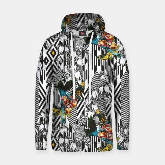 Flowery Geometric Mosaic With Butterflies Sudadera con capucha de algodón thumbnail image