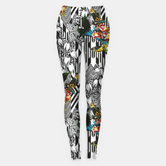 Flowery Geometric Mosaic With Butterflies Leggings imagen en miniatura