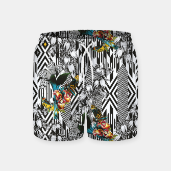Flowery Geometric Mosaic With Butterflies Pantalones de baño thumbnail image