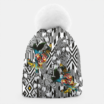 Flowery Geometric Mosaic With Butterflies Gorro thumbnail image