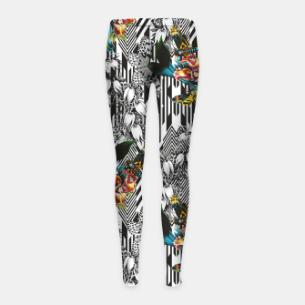 Flowery Geometric Mosaic With Butterflies Leggings para niña thumbnail image
