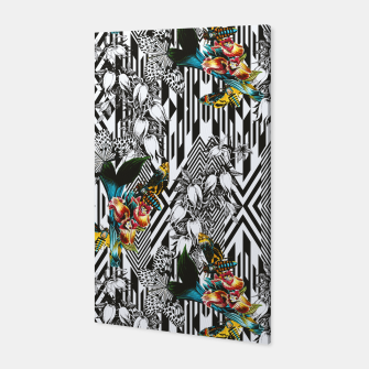 Flowery Geometric Mosaic With Butterflies Canvas thumbnail image