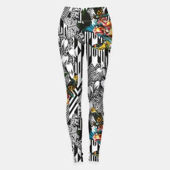 Miniatur Flowery Geometric Mosaic With Butterflies Leggings, Live Heroes