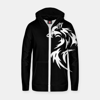 Thumbnail image of Tribal White Wolf | Fancy Retro Art Cotton zip up hoodie, Live Heroes