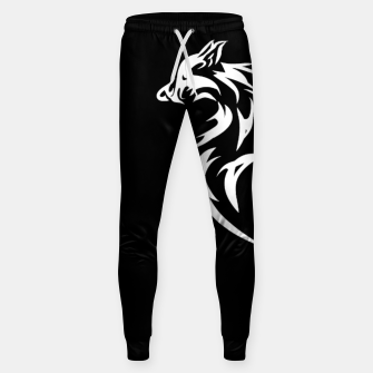 Thumbnail image of Tribal White Wolf | Fancy Retro Art Cotton sweatpants, Live Heroes