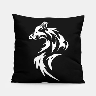Thumbnail image of Tribal White Wolf | Fancy Retro Art Pillow, Live Heroes
