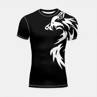 Thumbnail image of Tribal White Wolf | Fancy Retro Art Shortsleeve rashguard, Live Heroes