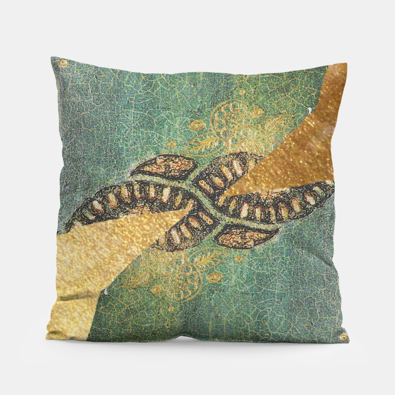 Image of Gold Green Pillow - Live Heroes