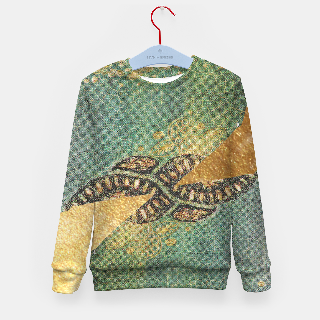 Image of Gold Green Kid's sweater - Live Heroes