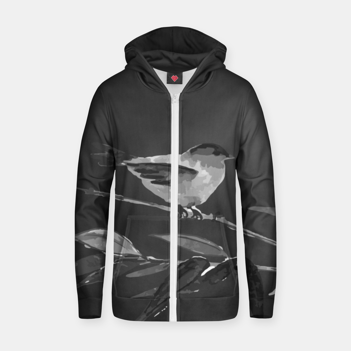 Image of A gray bird Cotton zip up hoodie - Live Heroes