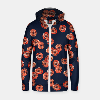 Thumbnail image of Red Poppy Cotton zip up hoodie, Live Heroes
