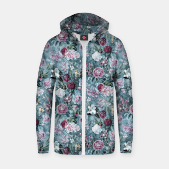 Thumbnail image of Botanical Garden Blue Cotton zip up hoodie, Live Heroes