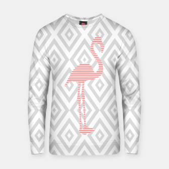 Thumbnail image of Flamingo - abstract geometric pattern - gray and white. Cotton sweater, Live Heroes