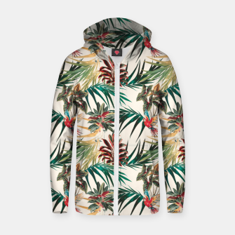 Thumbnail image of Plants and tropical birds Sudadera con capucha y cremallera de algodón , Live Heroes