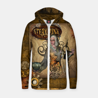 Miniature de image de Aweseome steampunk women with owl Cotton zip up hoodie, Live Heroes