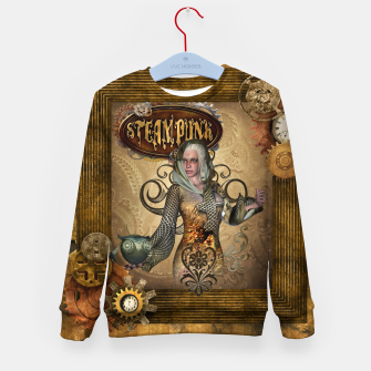 Thumbnail image of Aweseome steampunk women with owl Kid's sweater, Live Heroes