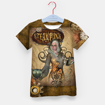 Thumbnail image of Aweseome steampunk women with owl Kid's t-shirt, Live Heroes