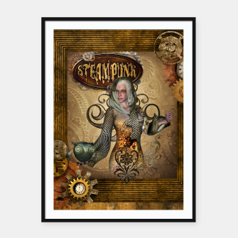 Thumbnail image of Aweseome steampunk women with owl Framed poster, Live Heroes