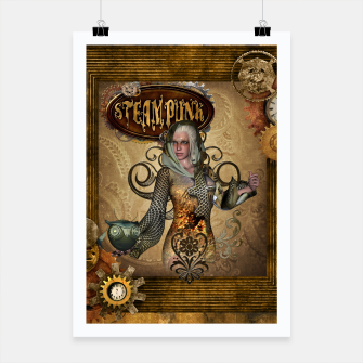 Thumbnail image of Aweseome steampunk women with owl Poster, Live Heroes