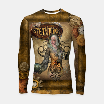 Thumbnail image of Aweseome steampunk women with owl Longsleeve rashguard , Live Heroes