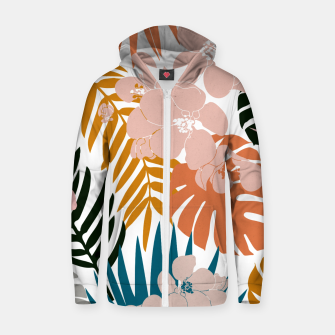 Thumbnail image of Palms and Bloom Cotton zip up hoodie, Live Heroes