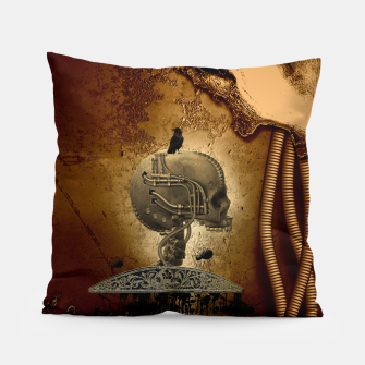 Miniatur Awesome mechanical skull with crow and spider Pillow, Live Heroes