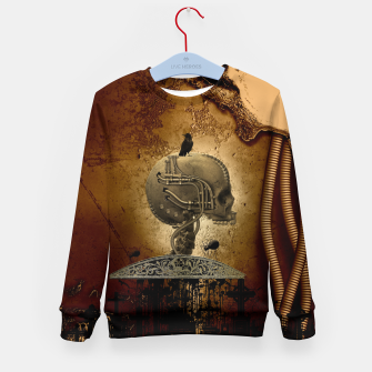 Miniatur Awesome mechanical skull with crow and spider Kid's sweater, Live Heroes