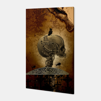 Miniatur Awesome mechanical skull with crow and spider Canvas, Live Heroes