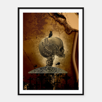 Miniatur Awesome mechanical skull with crow and spider Framed poster, Live Heroes